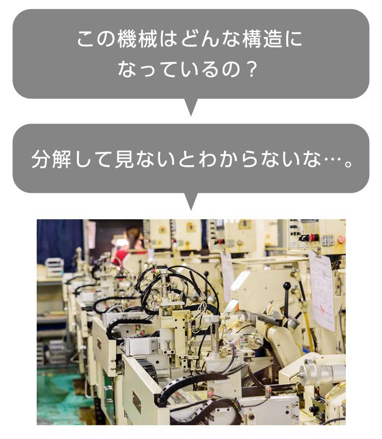 この機械はどんな構造になっているの?分解して見ないとわからないな…。